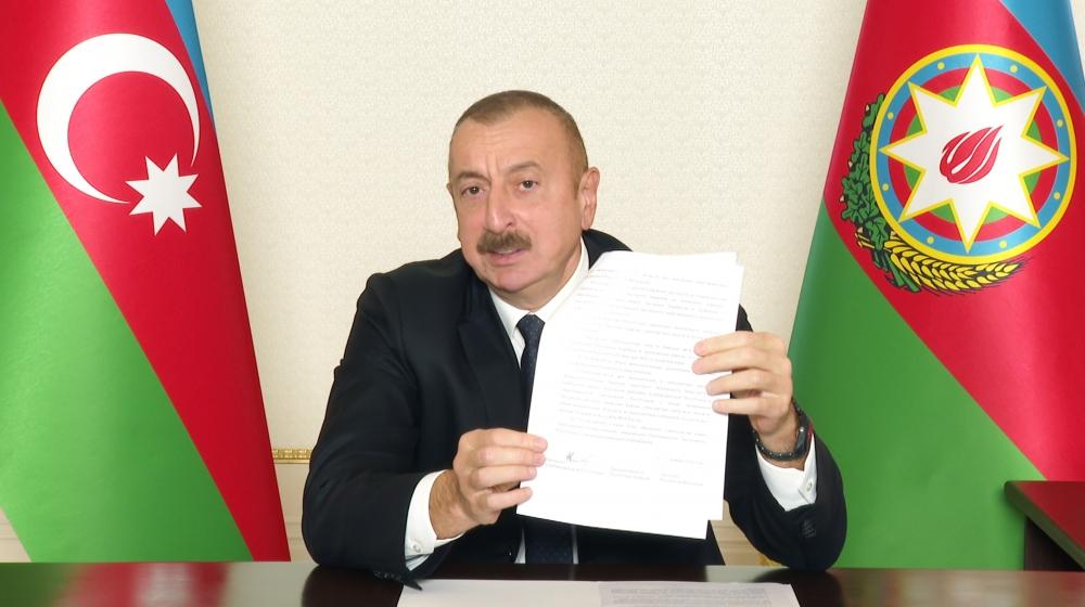 """Azərbaycan Respublikası Prezidenti """"Vətən Müharibəsi Qəhrəmanı"""" adının verilməsi haqqında Sərəncam imzalayıb"""